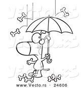 Vector of a Cartoon Dog Under an Umbrella in Bone Rain - Outlined Coloring Page by Ron Leishman