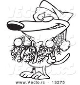 Vector of a Cartoon Dog Wearing a Christmas Wreath - Coloring Page Outline by Toonaday