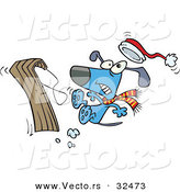 Vector of a Cartoon Dog Wrecking While Trying to Ride a Snow Sled by Toonaday