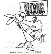 Vector of a Cartoon Donkey Carrying a Vote Sign - Outlined Coloring Page by Toonaday