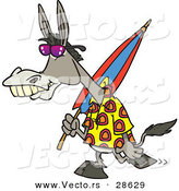Vector of a Cartoon Donkey Carrying an Umbrella While Walking to the Beach by Toonaday