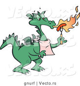 Vector of a Cartoon Dragon Cooking Hot Dog with Flames and Fire Breathing from His Mouth by Gnurf