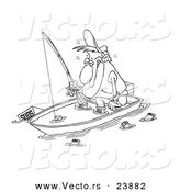 Vector of a Cartoon Drunk Man Fishing in a Sinking Boat - Coloring Page Outline by Ron Leishman