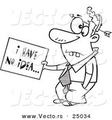 Vector of a Cartoon Dumb Man with an Arrow Through His Head Holding an I Have No Idea Sign - Outlined Coloring Page by Toonaday