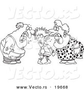 Vector of a Cartoon Dysfunctional Family Fighting - Outlined Coloring Page by Toonaday