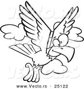 Vector of a Cartoon Eagle Flying - Coloring Page Outline by Ron Leishman