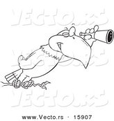 Vector of a Cartoon Eagle Using a Telescope - Outlined Coloring Page Drawing by Toonaday