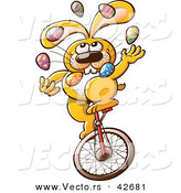 Vector of a Cartoon Easter Bunny Juggling Colorful Eggs While Riding a Unicycle by Zooco