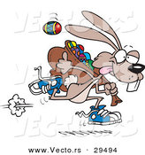 Vector of a Cartoon Easter Bunny Running Quickly with a Full Bag of Painted Eggs by Toonaday