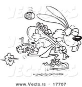 Vector of a Cartoon Easter Bunny Running with a Bag of Eggs - Coloring Page Outline by Toonaday