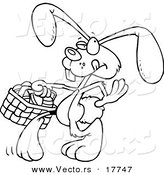 Vector of a Cartoon Easter Bunny Walking with an Easter Basket - Outlined Coloring Page by Toonaday