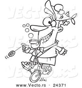 Vector of a Cartoon Eccentric Man Doing Stunts - Outlined Coloring Page by Toonaday