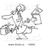 Vector of a Cartoon Editor Running with Coffee and Documents - Outlined Coloring Page Drawing by Ron Leishman