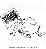 Vector of a Cartoon Elephant Carrying a Vote Sign - Outlined Coloring Page Drawing by Toonaday