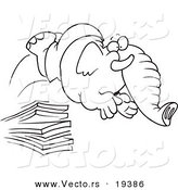 Vector of a Cartoon Elephant Jumping off a Diving Board - Outlined Coloring Page by Toonaday