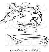 Vector of a Cartoon Elephant Jumping on a Diving Board - Coloring Page Outline by Toonaday