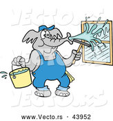 Vector of a Cartoon Elephant Pressure Washing Window with Water from a Bucket by LaffToon