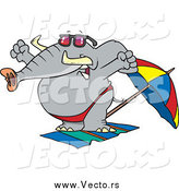 Vector of a Cartoon Elephant Stretching on a Beach by Ron Leishman