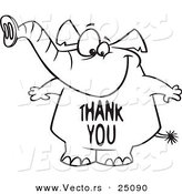 Vector of a Cartoon Elephant with a Thank You Belly - Outlined Coloring Page by Toonaday