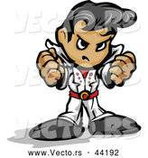 Vector of a Cartoon Elvis Intimidating with Fists and Mean Grin by Chromaco