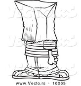 Vector of a Cartoon Embarrassed Boy with a Bag on His Head - Outlined Coloring Page Drawing by Toonaday