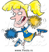 Vector of a Cartoon Energetic Blond Jumping Cheerleader Girl by Toonaday