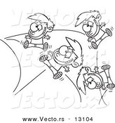 Vector of a Cartoon Energetic Boy Bouncing off the Walls - Outlined Coloring Page by Toonaday