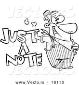 Vector of a Cartoon Engineer Leaning on Just a Note Text - Outlined Coloring Page Drawing by Toonaday