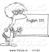 Vector of a Cartoon English 101 Teacher Standing by a Chalk Board - Coloring Page Outline by Toonaday