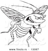 Vector of a Cartoon Evil Cockroach - Coloring Page Outline by Toonaday