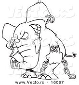 Vector of a Cartoon Evil Elephant Carrying a Chain - Outlined Coloring Page Drawing by Toonaday