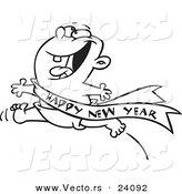Vector of a Cartoon Excited Baby Running with a Happy New Year Sash - Coloring Page Outline by Toonaday
