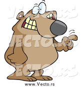 Vector of a Cartoon Excited Bear Tapping with His Finger by Ron Leishman