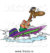 Vector of a Cartoon Excited Black Man on a Speed Boat by Toonaday