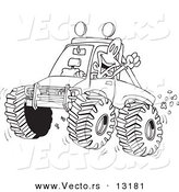 Vector of a Cartoon Excited Man 4wheeling His Truck Through Mud - Coloring Page Outline by Toonaday