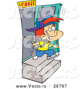 Vector of a Cartoon Excited Red Haired Caucasian School Boy Running out the Door by Toonaday