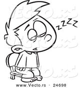Vector of a Cartoon Exhausted Boy Trying to Stay Awake to See Santa - Outlined Coloring Page by Toonaday