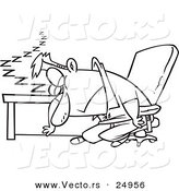 Vector of a Cartoon Exhausted Man Dozing at His Desk - Outlined Coloring Page by Toonaday