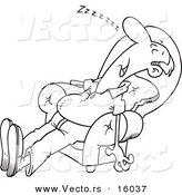 Vector of a Cartoon Exhausted Man Sleeping in an Arm Chair - Outlined Coloring Page Drawing by Toonaday
