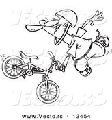 Vector of a Cartoon Extreme Bmx Biker Doing a Trick - Coloring Page Outline by Toonaday