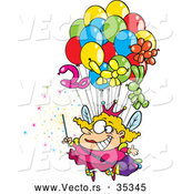 Vector of a Cartoon Fairy Floating up with Lots of Balloons by Toonaday