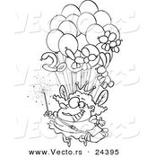 Vector of a Cartoon Fairy Floating with Balloons - Outlined Coloring Page by Toonaday