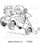 Vector of a Cartoon Family Driving a Rally - Coloring Page Outline by Toonaday