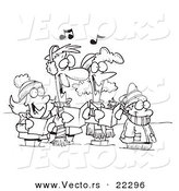 Vector of a Cartoon Family Singing Christmas Carols - Coloring Page Outline by Toonaday