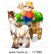 Vector of a Cartoon Farmer Boy with House Cat and a Horse Cart by Graphics RF