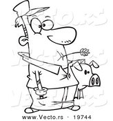 Vector of a Cartoon Farmer Holding His Pig - Outlined Coloring Page by Toonaday