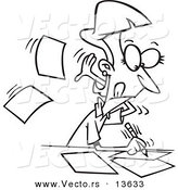 Vector of a Cartoon Fast Author Writing on Pages - Coloring Page Outline by Ron Leishman