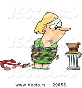 August 14th, 2015: Vector of a Cartoon Fat Blond White Woman Tied up Next to Cake by Ron Leishman