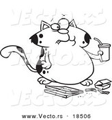 Vector of a Cartoon Fat Cat Sipping Soda and Eating Fast Food - Outlined Coloring Page by Toonaday