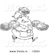 Vector of a Cartoon Fat Female Waitress Carrying Many Plates - Coloring Page Outline by Toonaday